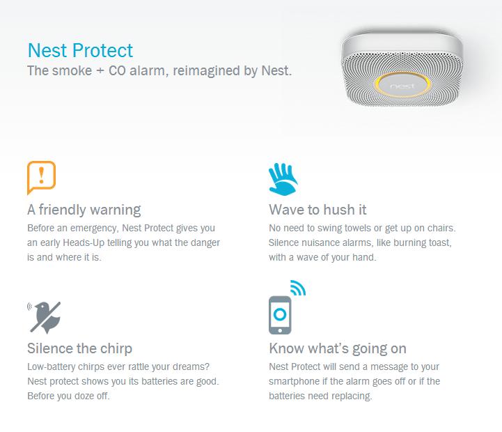 Possibilité d'éteindre NEST avec un geste de la main, veilleuse pour la nuit, alertes smartphone, disponible en noir ou en blanc...